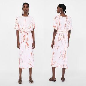 NEW Zara Long  Long Dress w/ Knot Tie Dye